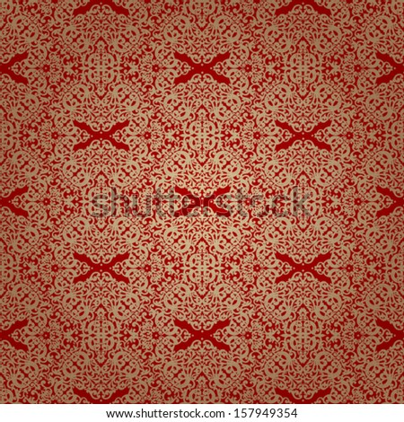 Vintage seamless pattern with lacy ornament in retro style. Golden brocade background. It can be used for wallpaper, pattern fills, web page background, surface textures. - stock vector