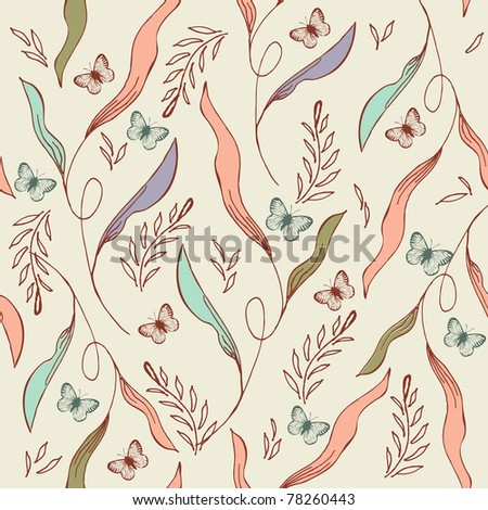 Vintage seamless pattern with leaves,  flowers and butterflies - stock vector