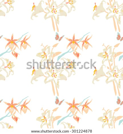 Vintage seamless pattern with Lilies and Orchid. Tropical flowers background isolated on white. - stock vector