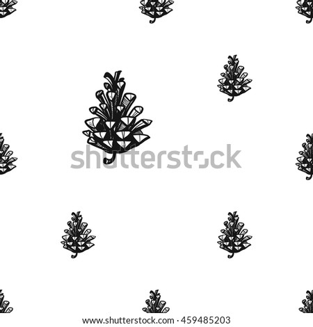 Vintage seamless pattern with pinecone. Background for eco forest autumn celebrations. Black floral rustic symbol on white hand drawing style.