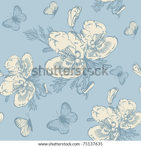 Vintage seamless pattern with rose flowers - stock vector