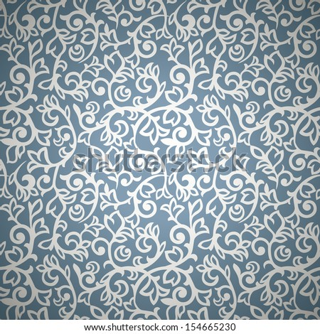 Vintage seamless pattern with silver curls on blue background - stock vector