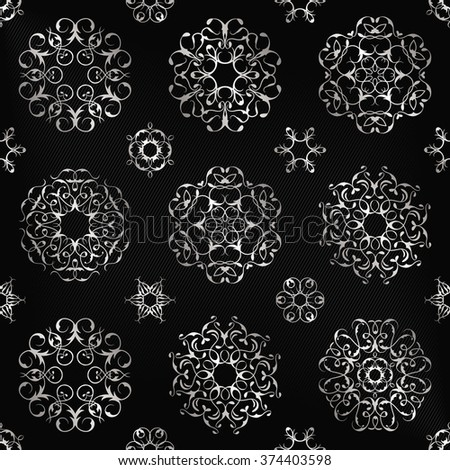 Vintage seamless pattern with silver decoration. Modern design for textures, textile