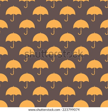 Vintage seamless pattern with umbrellas. Vector illustration - stock vector