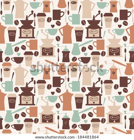 Vintage seamless pattern with vector coffee illustrations - stock vector