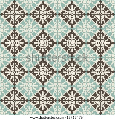 vintage seamless pattern with Victorian motif - stock vector