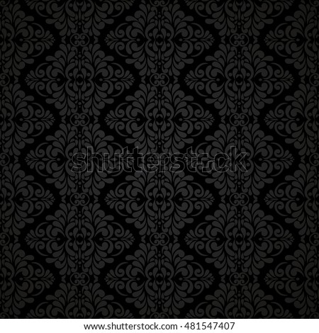 Vintage seamless pattern with Victorian motives, shades of black. Classic wallpaper.
