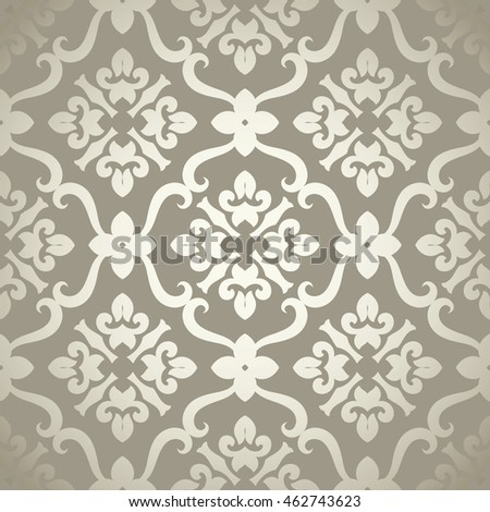 Vintage seamless pattern with Victorian motives, TILE, shades of beige& light golden. Classic tile pattern with abstract decorative elements inside
