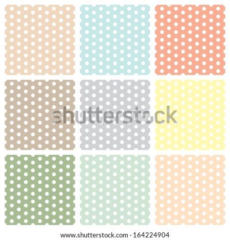 Vintage seamless polka dot patterns set. vector - stock vector