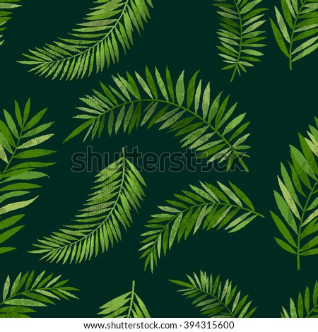 Vintage seamless tropical palm leaf pattern with texture effect. Vector background illustration. - stock vector