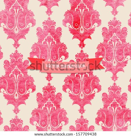 Vintage seamless vector background. Stencils in the form of damask pattern on watercolors substrate.  - stock vector