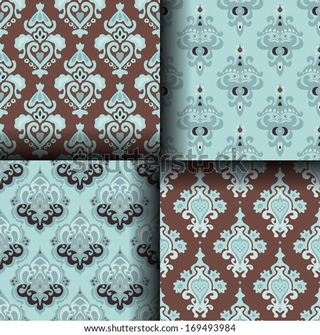 Vintage seamless vector pattern collection - stock vector