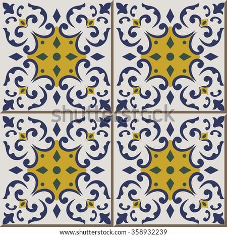 Vintage Seamless Wall Tiles Blue Green Stock Vector