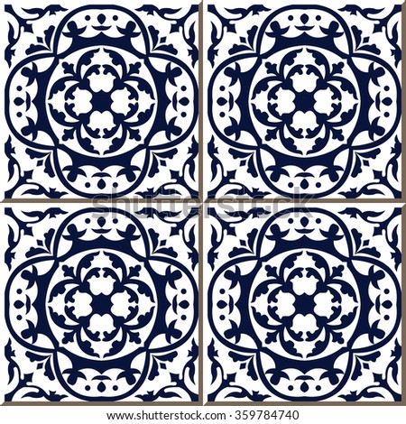 Vintage seamless wall tiles of blue round curve vine, Moroccan, Portuguese. Vintage tile patterns can be used for wallpaper, pattern fills, web page background, surface textures.  - stock vector