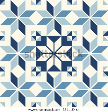 Vintage seamless wall tiles pattern - stock vector