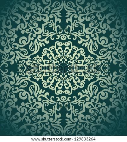 Vintage seamless wallpaper,damask design - stock vector