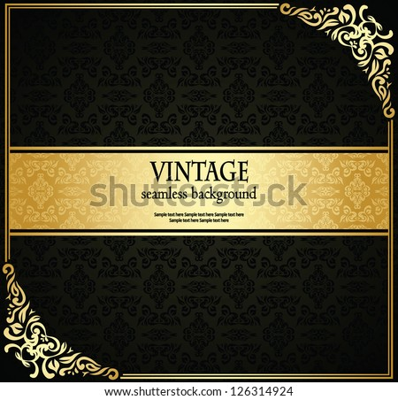 Vintage seamless wallpaper with a ribbon and frame. Can be used as invitation, card and other - stock vector