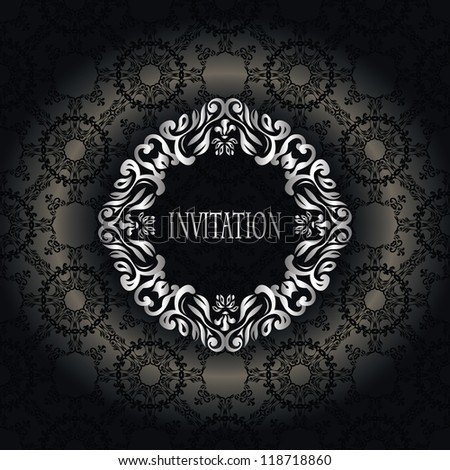 Vintage seamless wallpaper with a silver frame. Can be used as greeting card or invitation - stock vector