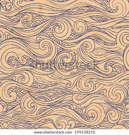 Vintage seamless with ethnic waves for your business - stock vector