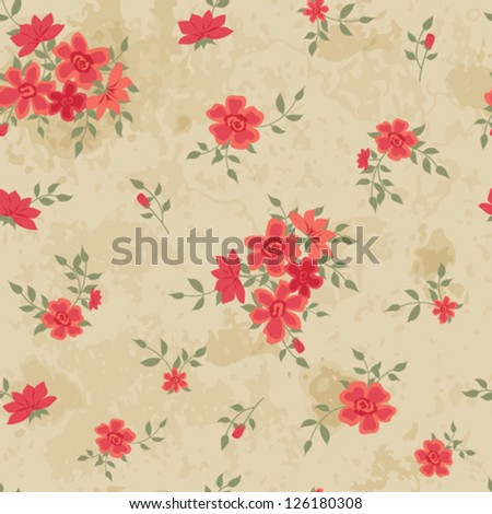 Vintage seamless with roses - stock vector