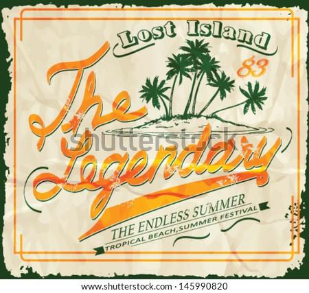 Vintage seaside view poster. Vector summer print.island vector set - stock vector