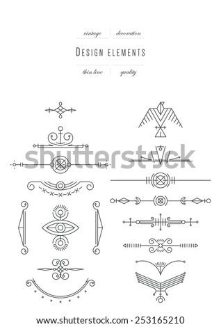 Vintage set - calligraphic design elements, thin line ( variable line width ) - stock vector