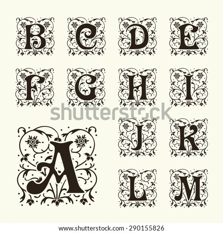 Stock Vector Vintage Set Capital Letters Floral Monograms And Beautiful Filigree Font Art Deco Nouveau Flower Alphabet Vectors Clipart