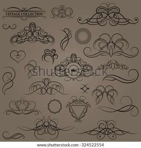 Vintage set decor elements. Elegance old hand drawing set. Ornate swirl leaves, label, acanthus elements, shield and decor elements in vector. Decoration for logo, wedding album or restaurant menu. - stock vector