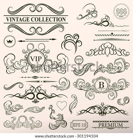 Vintage set decor elements. Elegance old hand drawing set. Outline ornate swirl leaves, label, acanthus, decor elements in vector. Big collection  borders for book, photo album or restaurant menu.