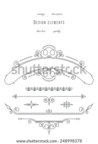 Vintage set - design elements, thin line ( variable line width ) - stock vector