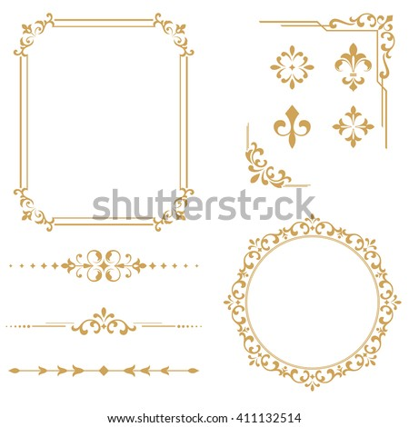 Vintage Set. Floral elements for design monograms, invitations, frames, menus and labels. Graphic design of the website, cafes, boutiques, hotels, wedding invitations. - stock vector