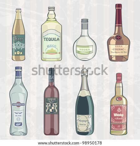Vintage Set of Alcohol Bottles - stock vector