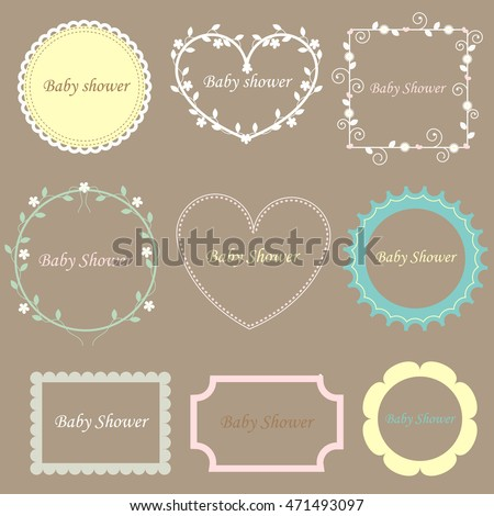 vintage set of baby frames. baby shower.  Vector illustration