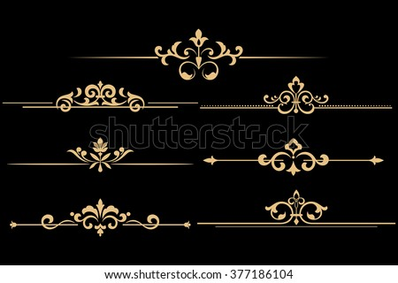 Vintage set of decorative elements. Golden separators on a black background. - stock vector