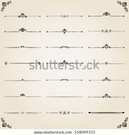 Vintage set of decorative elements. Horizontal separators in the frame. Collection of different ornaments. Classic patterns. Set of vintage patterns.
