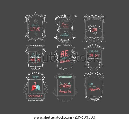 vintage set of decorative valentine elements and hand drawn illustrations on chalkboard - stock vector