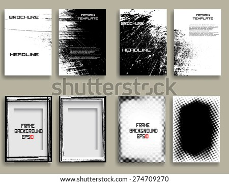 Vintage Set Of Different Grunge Textured Brochures . Retro Flyers , Banners , Posters with Border Frames , Halftone Dots and Distress Textures . Black and White Patterns in Grungy Style . - stock vector