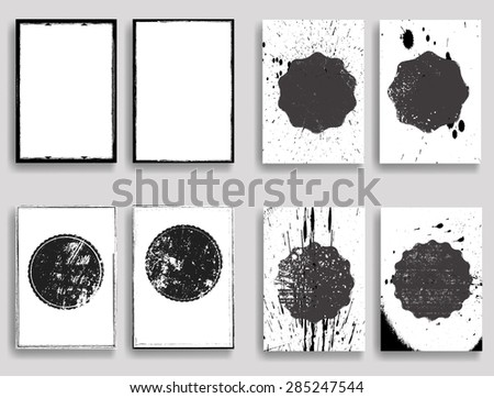 Vintage Set Of Different Grunge Textured Brochures . Retro Flyers , Banners , Posters with Stamp, Insignias and Distress Textures . Black and White Posters in Grungy Style . - stock vector