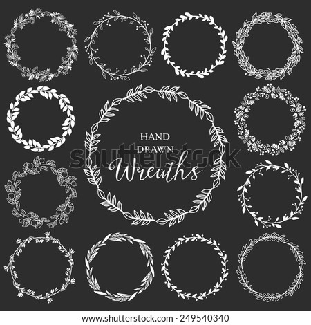Vintage set of hand drawn rustic wreaths. Floral vector graphic on blackboard. Nature design elements. - stock vector