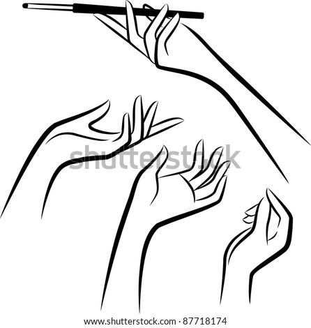 Vintage set of hands with cannon-bit. Vector