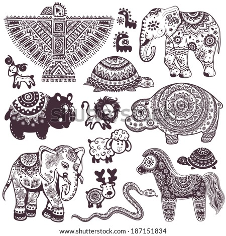 Vintage set of isolated ethnic animals and symbols - stock vector