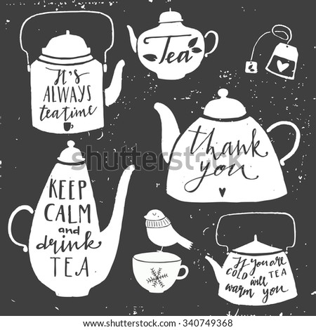 Vintage set of kettle for tea. Hand drawn typography elements.  Moody sky abstract background. - stock vector