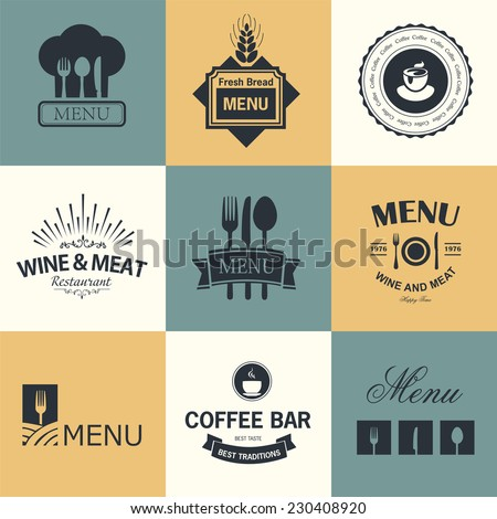 Vintage set of restaurant signs, symbols, logo elements and icons. Calligraphy decorations collection for restaurant menu.