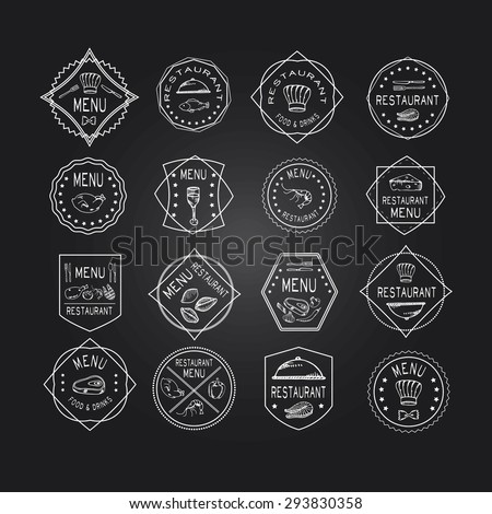 Vintage set of restaurant signs, symbols, logo elements and icons. Calligraphy decorations collection for restaurant menu. Set of Doodle logos for restaurants - stock vector