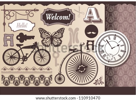 Vintage set of silhouettes and miscellaneous - stock vector