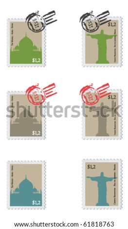 Vintage set of stamps from Agra (India) and Rio de Janeiro (Brazil). - stock vector