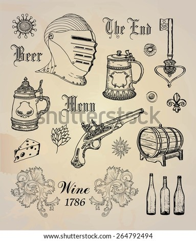 Vintage Set of wine and beer - stock vector