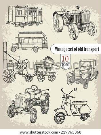 vintage set. old transport - stock vector