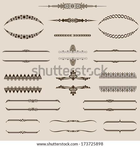 Vintage set page border element - stock vector