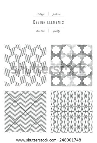 Vintage set - Patterns - thin line ( variable thickness of lines ) - stock vector